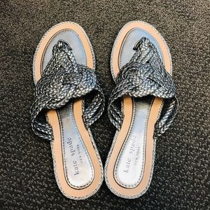 Kate Spade Woven Thong Sandals in Pewter, 8M